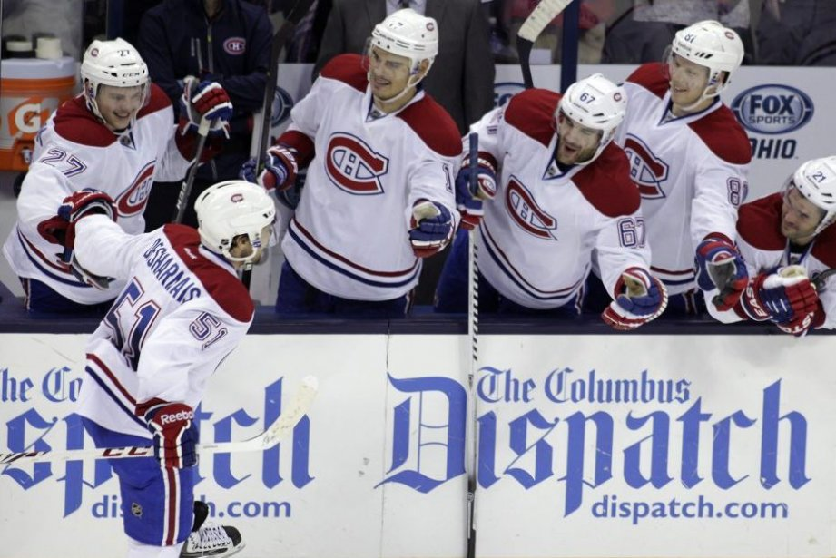 Montreal Canadiens' David Desharnais (51) celebrates his shoot...