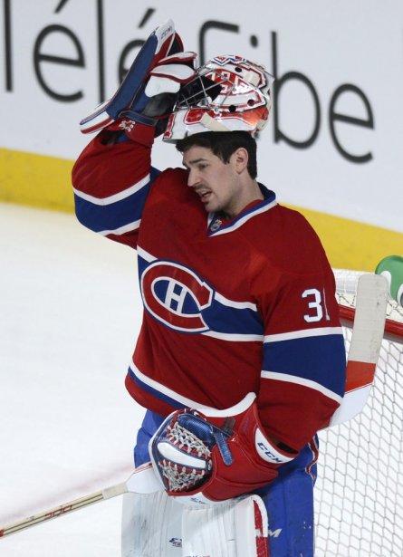 Le gardien du Canadien, Carey Price, après un arrêt en première période. (Photo Bernard Brault, La Presse)