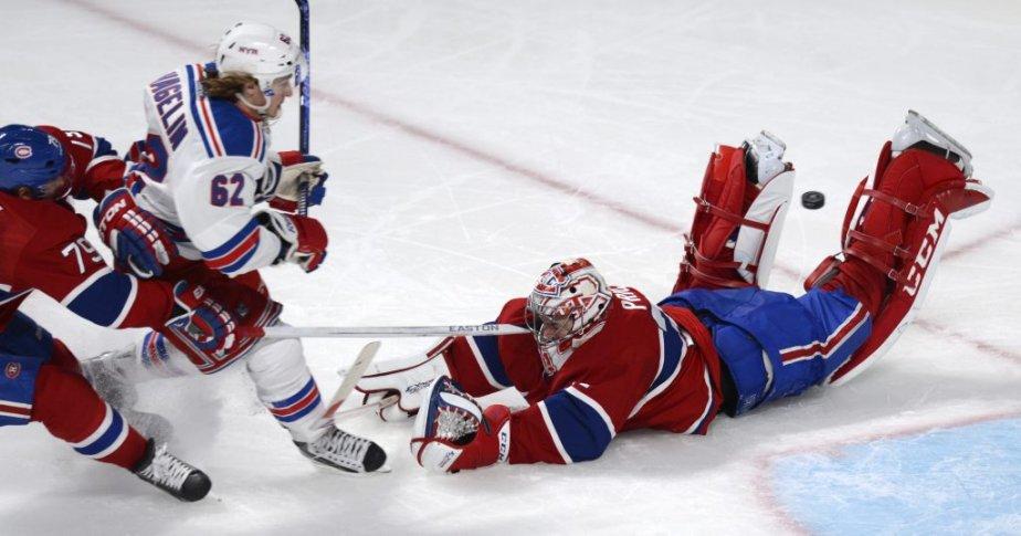 Andrei Markov (79) et Carey Price (31) du Canadien face à Carl Hagelin des Rangers lors de la troisième période. (Photo Bernard Brault, La Presse)