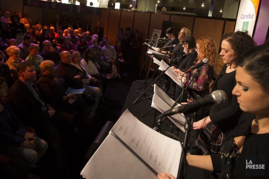 Les comédiennes Émilie Bibeau, Lise Castonguay, Lorraine Côté,... (Photo: Olivier Pontbriand, La Presse)