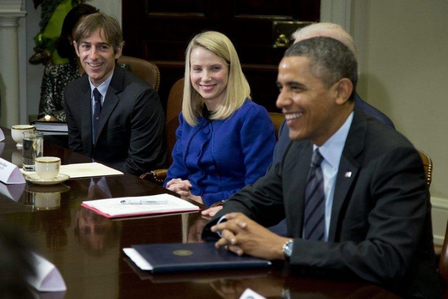 Barack Obama, Marissa Mayer deYahoo!et Mark Pincus, fondateur... (Photo Evan Vucci, AP)