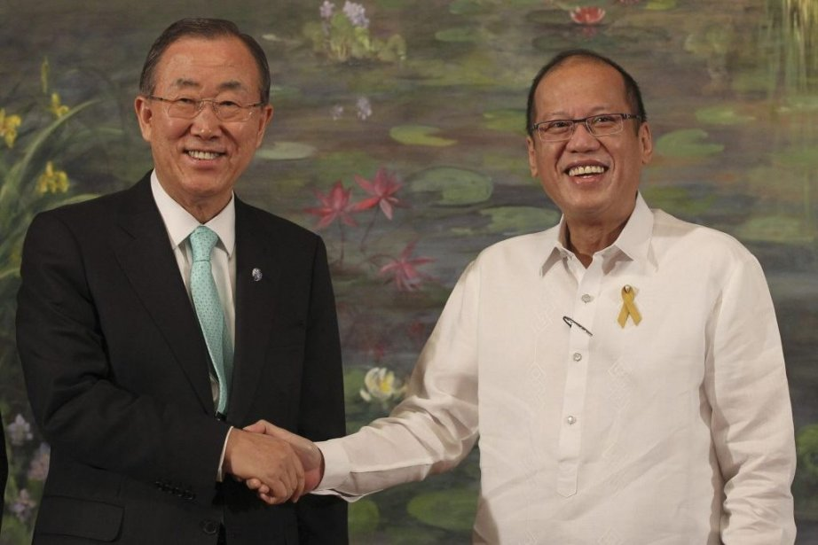 Ban Ki-moon a rencontréle président philippinBenigno Aquinoà Manille... (Photo Ryan Lim, REUTERS)