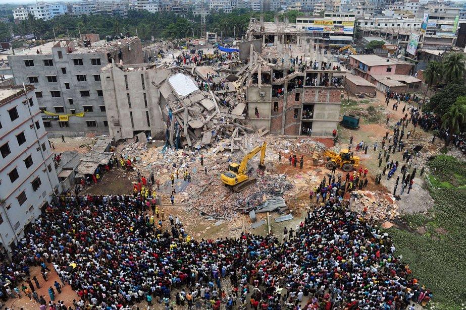 L'effondrement du complexe Rana Plaza, abritant plusieurs ateliers... (PHOTO AGENCE FRANCE PRESSE)