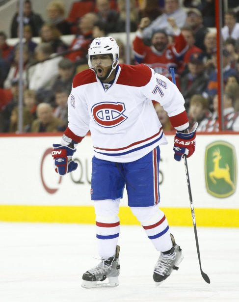 P. K. Subban célèbre son but en troisième période. (Photo James Guillory, USA TODAY Sports)