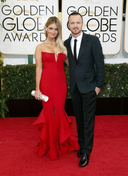 La covedette de la série télé Breaking Bad, Aaron Paul, et sa femme Lauren Parsekian. (Photo DANNY MOLOSHOK, Reuters)