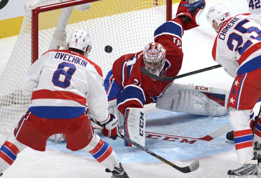 Alex Ovechkin réussit à loger la rondelle au-dessus de l'épaule du gardien du Canadien Carey Price. (Photo Bernard Brault, La Presse)