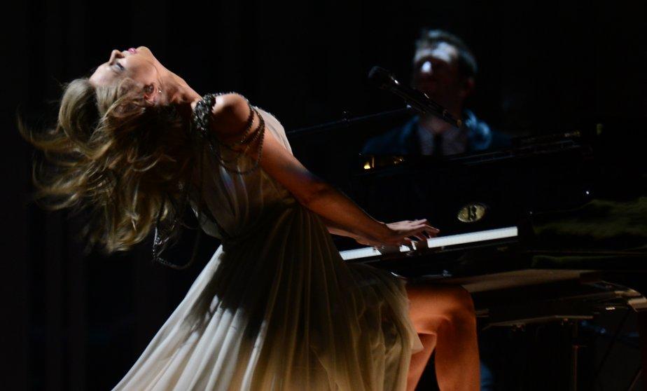 Taylor Swift déchaînée lors de sa performance. (Photo FREDERIC J. BROWN, AFP)