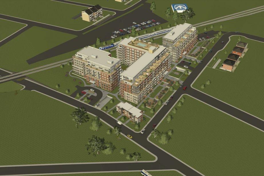 Le Quartier Victoria comptera en tout 404 appartements en copropriété, répartis dans 4 immeubles de 8 étages, situés tout près des deux gares de Saint-Lambert. (Illustration fournie par Habitations Trigone)