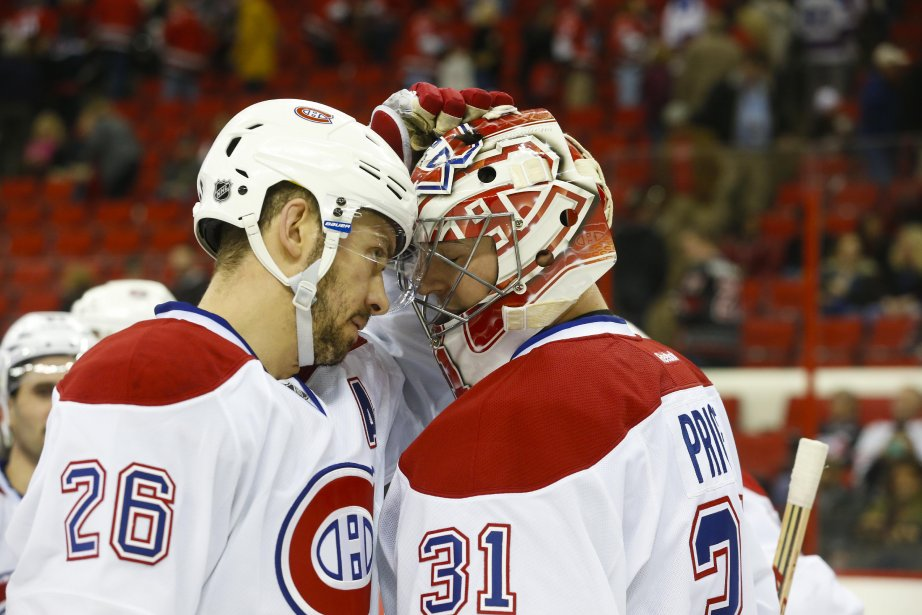 Josh Gorges félicite Carey Price après la victoire de l'équipe. (Photo  James Guillory, USA Today)