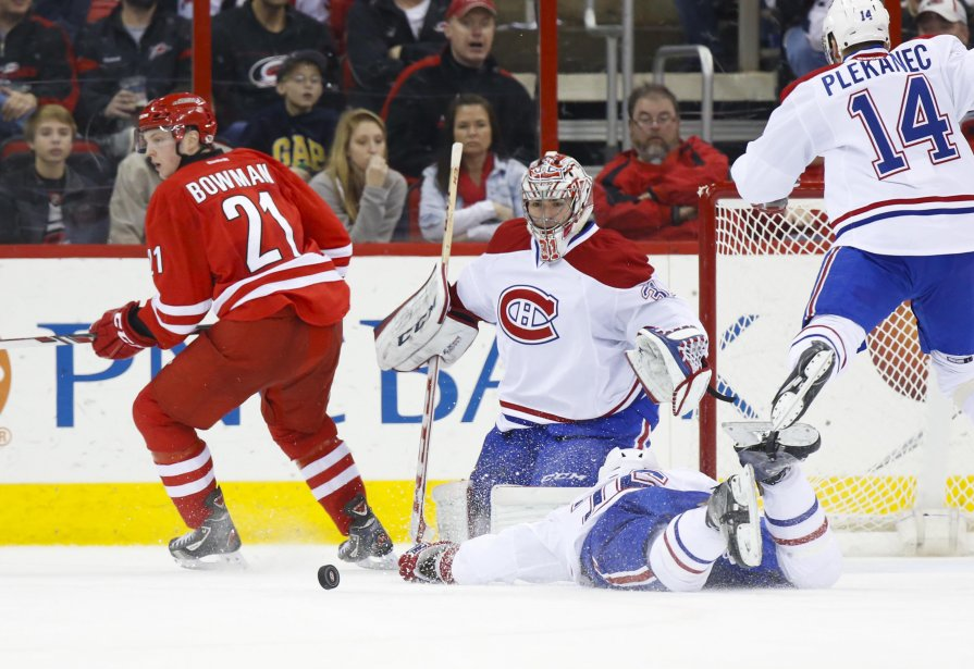 Carey Price, du Canadien, bloque le tir de Drayson Bowman. (Photo Gerry Broome, AP)