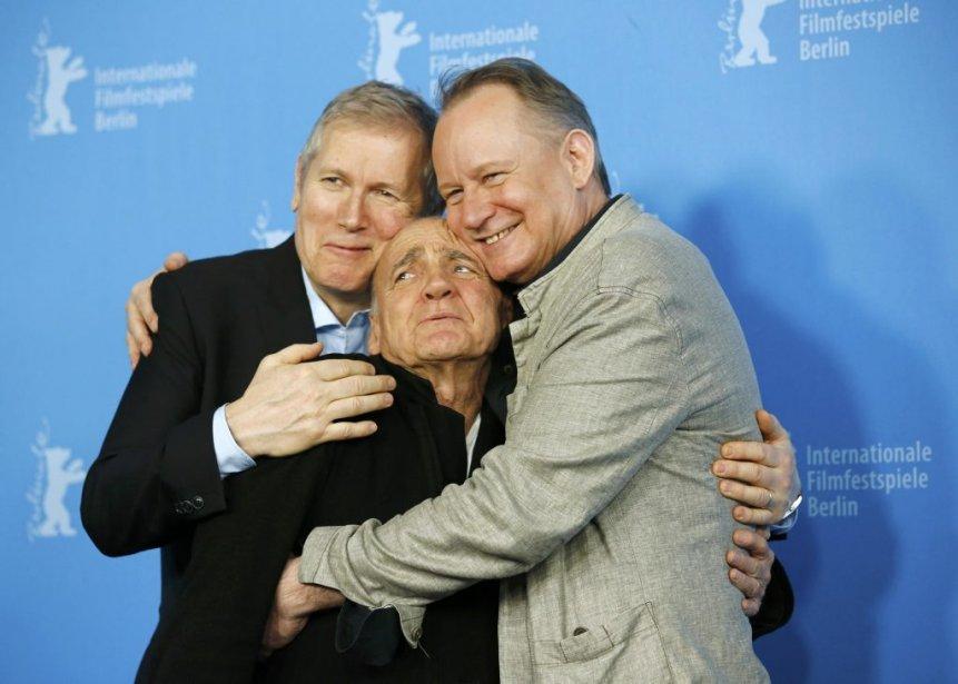 Lundi 10 février 2014: De gauche à droite, le réalisateur Hans Petter Moland en compagnie des acteurs Bruno Ganz et Stellan Skarsgard sont venus présenter le film «Kraftidioten» («In Order of Disappearance»)à la Berlinale. (Photo: Reuters)
