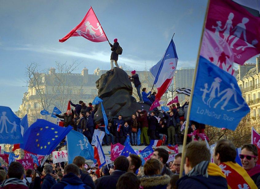 Le mouvement « La manif pour tous »... (Photo ERIC FEFERBERG, Agence France-Presse)