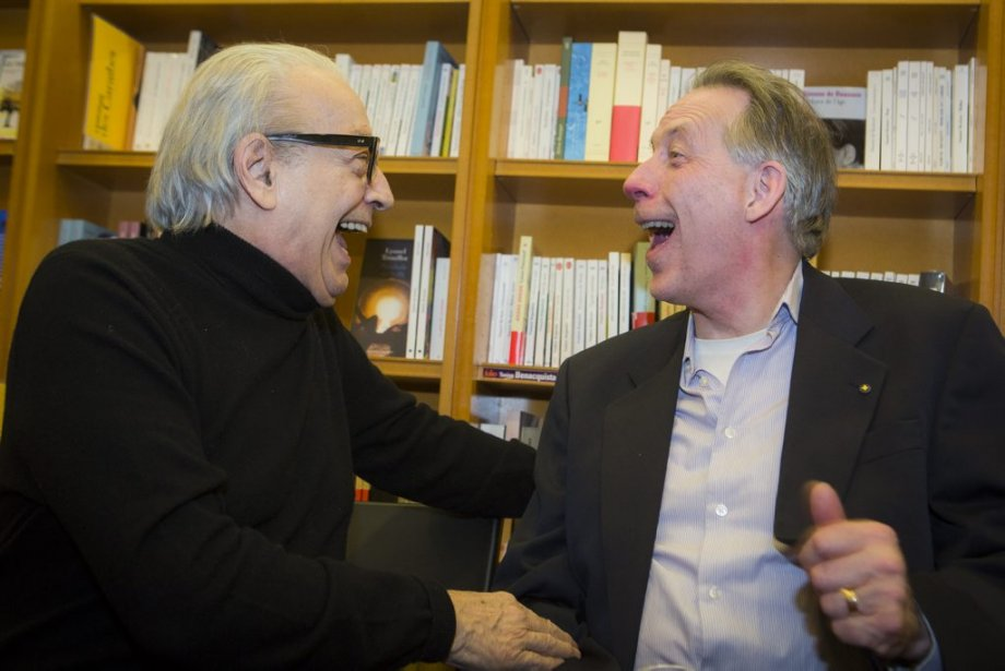 Louis Charbonneau et Louis Lavigueur au lancement de Claude Gingras. (Photo: Olivier Pontbriand, La Presse)