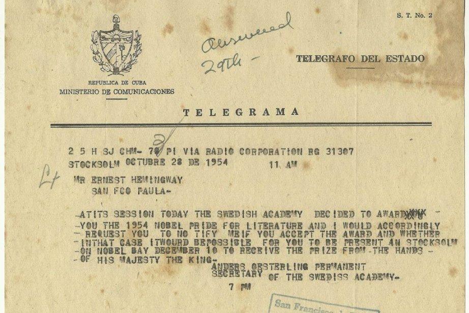 Le télégramme du docteur Anders Osterling, de l'Académie... (Photo: AP)