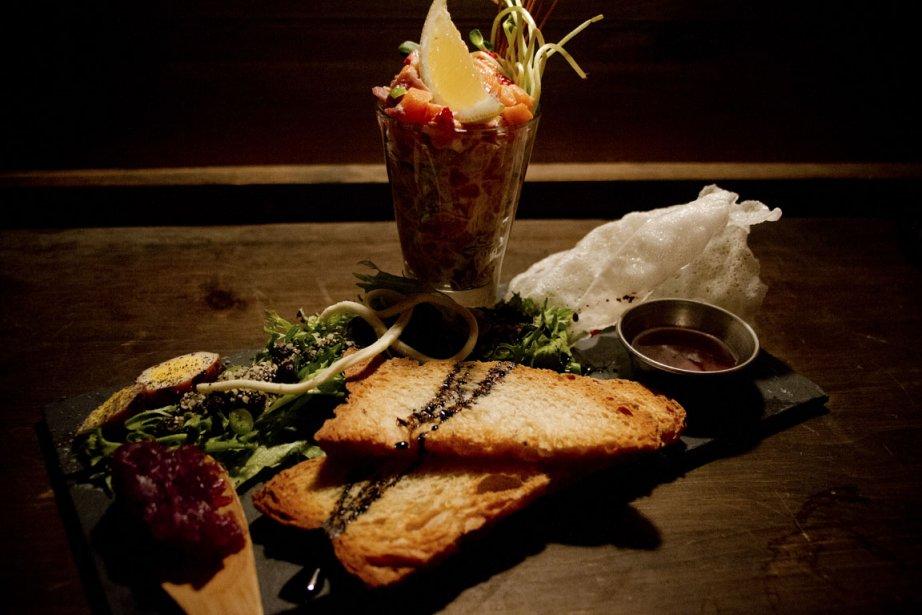 Le tartare de truite du restaurant La Grande aux hiboux, à la Baie. (Photo Sira Chayer, La Presse)