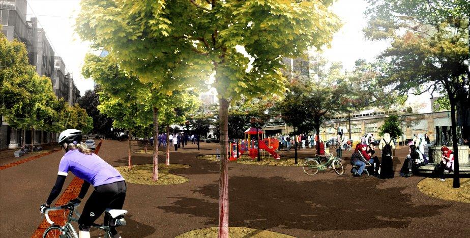 La Ville de Montréal a mis sous réserve plusieurs terrains, dont le stationnement en face du New City Gas, pour en faire une place publique. (Illustration fournie par l'arrondissement du Sud-Ouest)