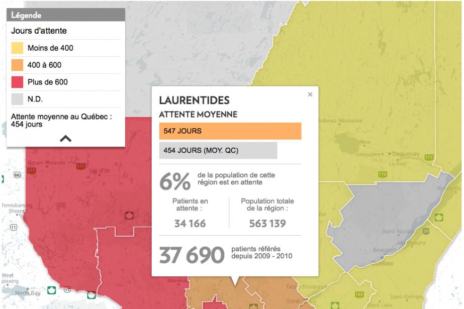 Les Québécois attendent en moyenne 454 jours sur... (CAPTURE D'ÉCRAN DE NOTRE CARTE INTERACTIVE)