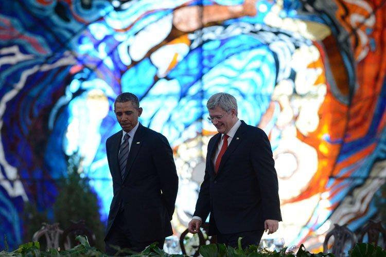 Stephen Harper et Barack Obama se sont entretenus... (Photo: PC)