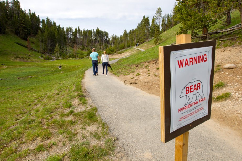 Une pancarte avertit de la présence d'ours noirs et de grizzlys dans les sentiers. (Photo Alain Roberge, La Presse)