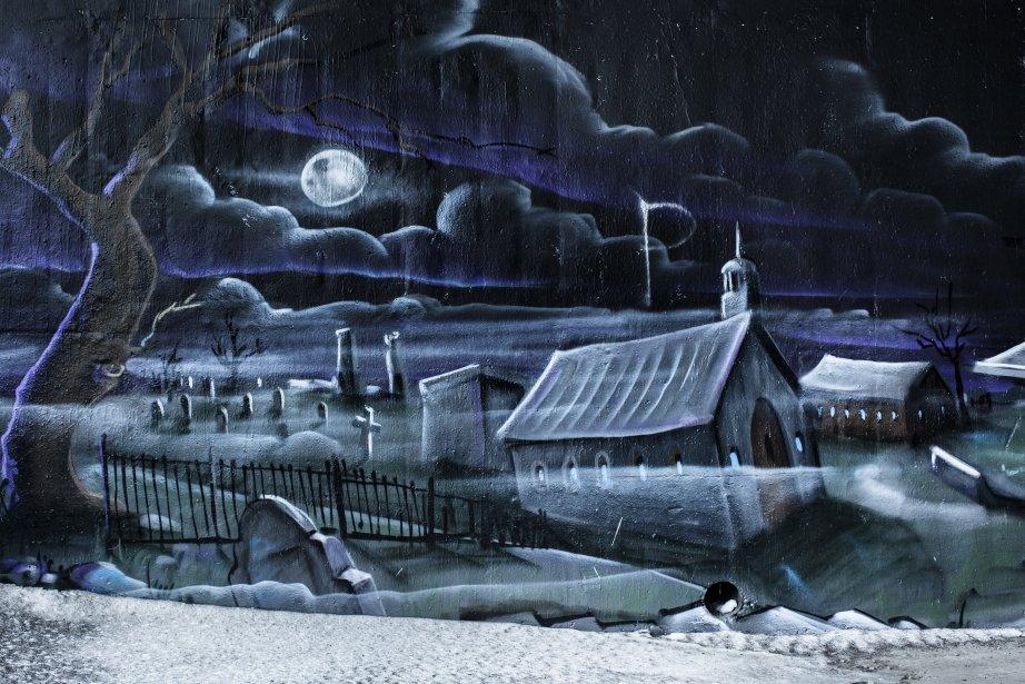 Une murale fantomatique se cache sous le pont Papineau-Leblanc, dans le parc de l'île de la Visitation. (PHOTO EDOUARD PLANTE-FRÉCHETTE, LA PRESSE)