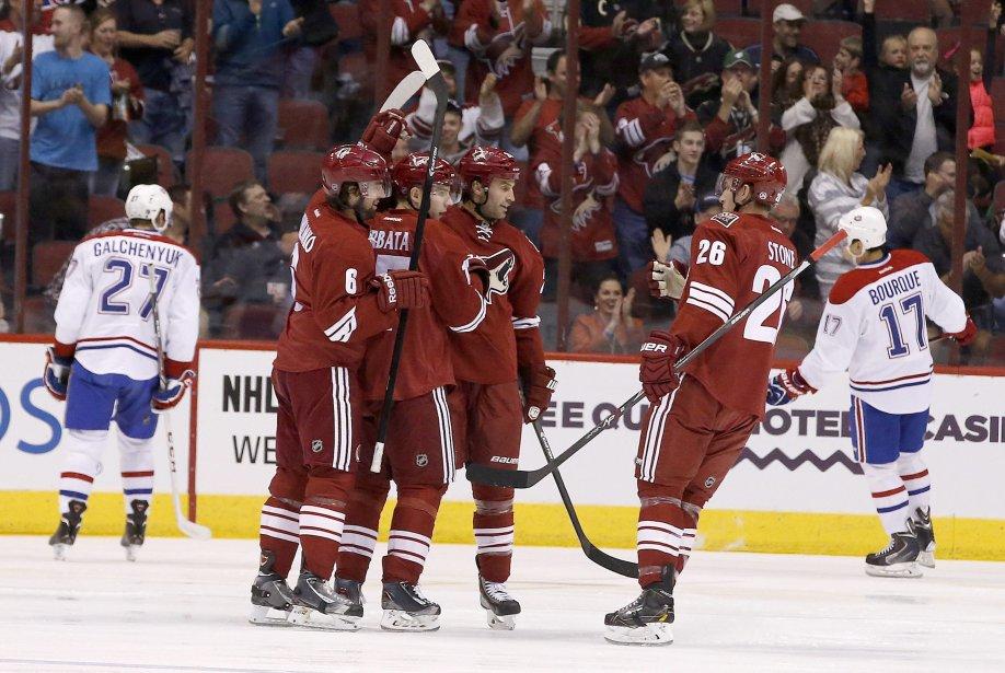 Les Coyotes célèbrent après un but. (Photo Ross D. Franklin, AP)