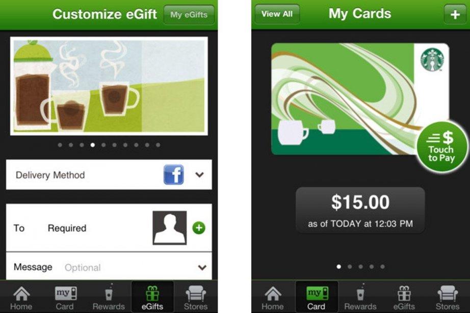L'application de Starbucks gagne en popularité, un achat... (Images tirées de l'application)