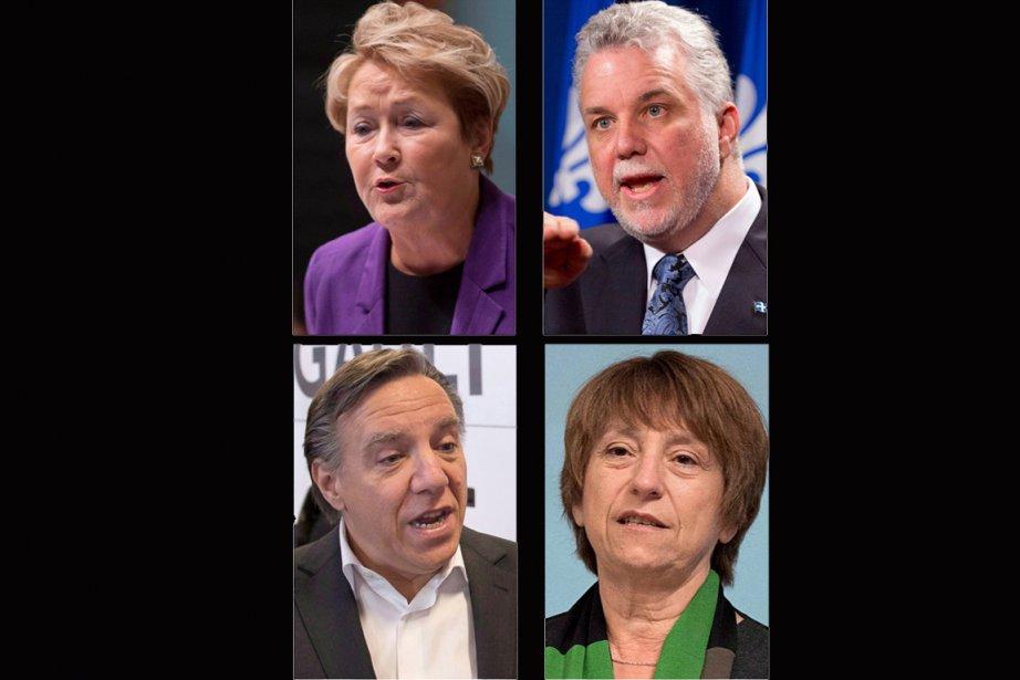 Les quatre principaux chefs de parti dans la... (Photos La Presse Canadienne)