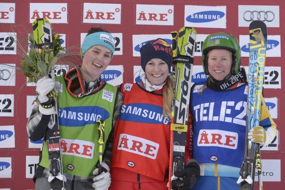 Marielle Thompson (à gauche),Fanny Smith (au centre) et... (Janerik Henriksson)