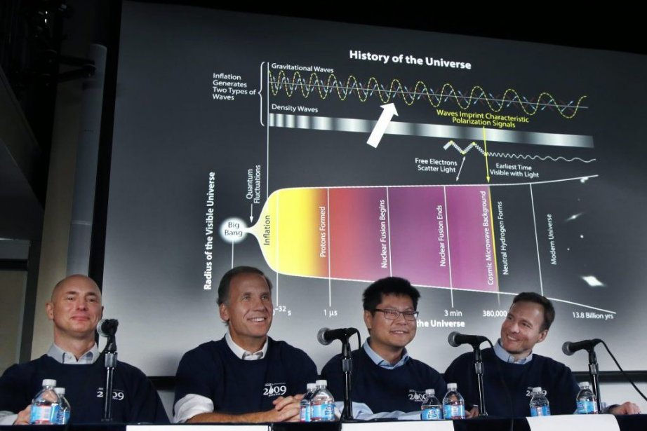 Les scientifiques Clem Pryke, Jamie Bock, Chao-Lin Kuo... (Photo Associated Press)