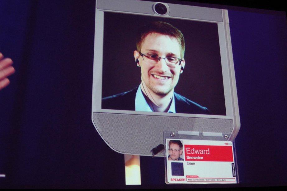 Edward Snowden est apparu en visioconférence à Vancouver,... (Photo Glen Chapman, AFP)