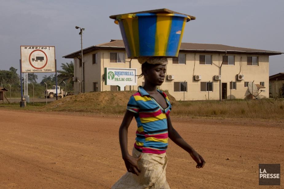 Une jeune femme passe devant les bureaux de l'Equatorial Palm Oil, l'une des firmes étrangères ayant obtenu d'importantes concessions territoriales au Libéria. (Photo David Boily, La Presse)
