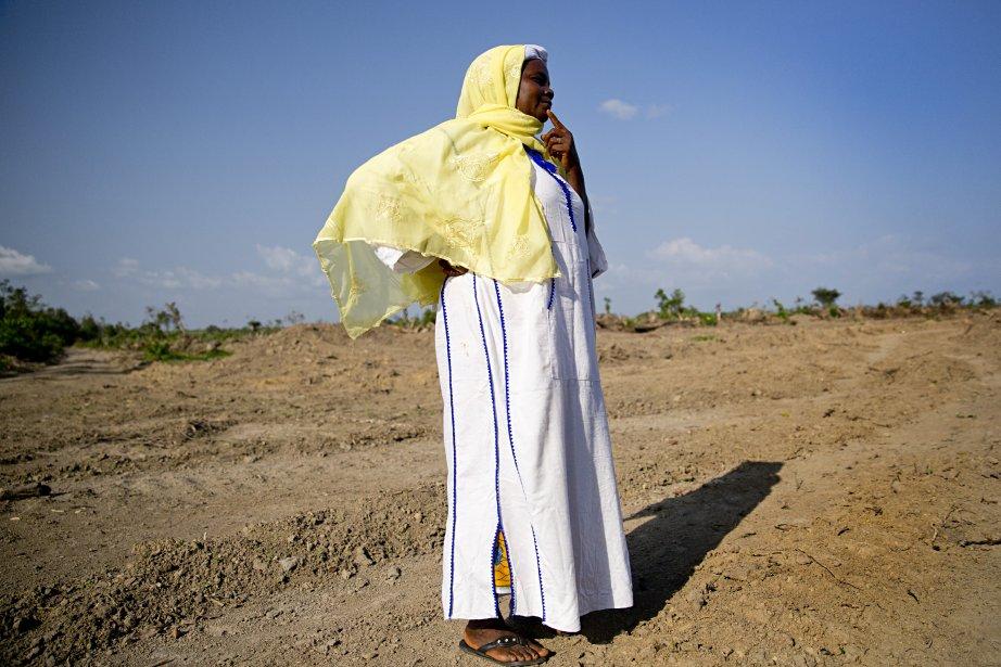 Hawa Kanowah, une dirigeante locale, regarde les terres défrichées par la firme Sime Darby à proximité du village de Malama, dans le comté de Bomi. (Photo David Boily, La Presse)