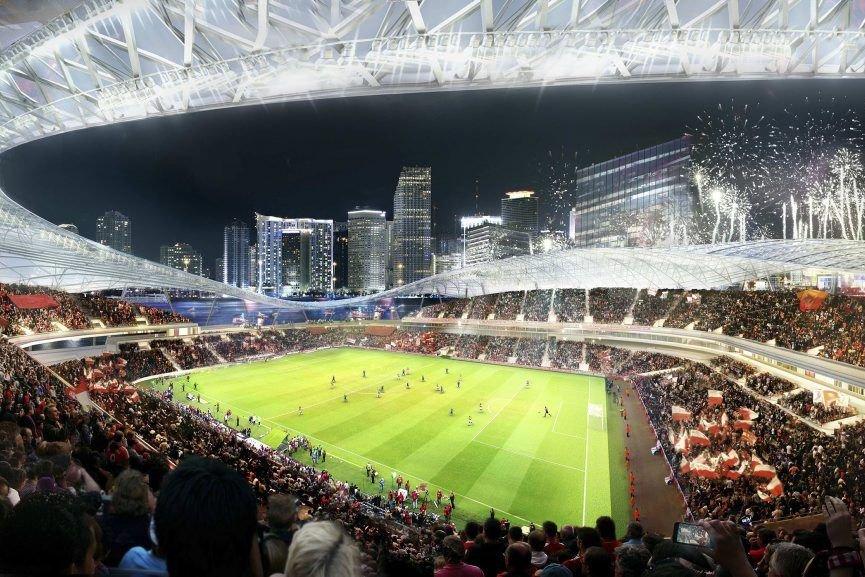 Une maquette du stade a été présentée.... (Photo Reuters)