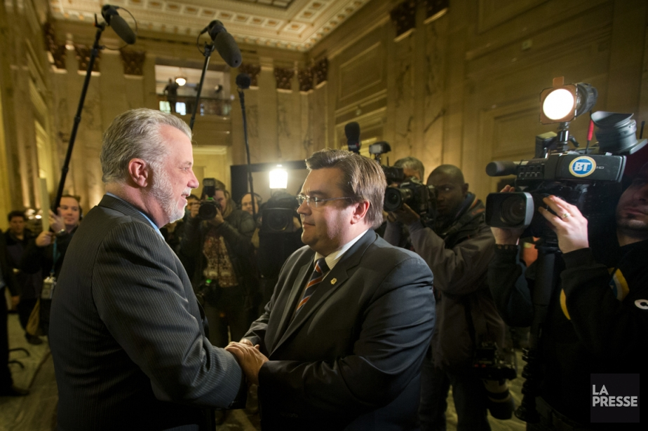 Philippe Couillard et Denis Coderre.... (Photo Ivanoh Demers, La Presse)