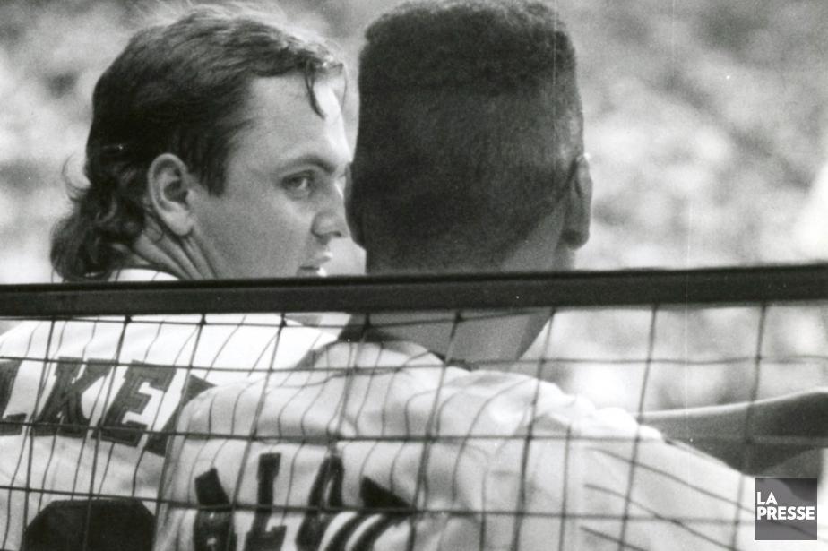 Larry Walker et Moises Alou, lors d'un match... (Photo Denis Courville, archives La Presse)