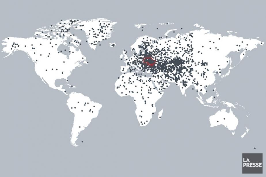 Sur la carte, chaque point représente la réponse... (INFOGRAPHIE LA PRESSE)
