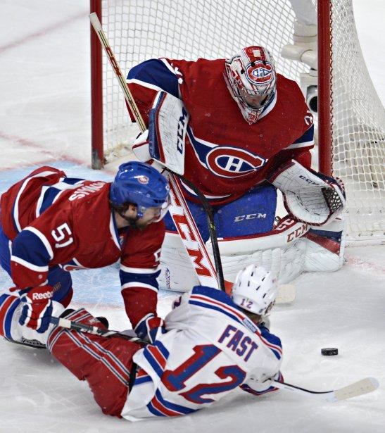 Carey Price bloque un tir de Jesper Fast. (Photo Bernard Brault, La Presse)