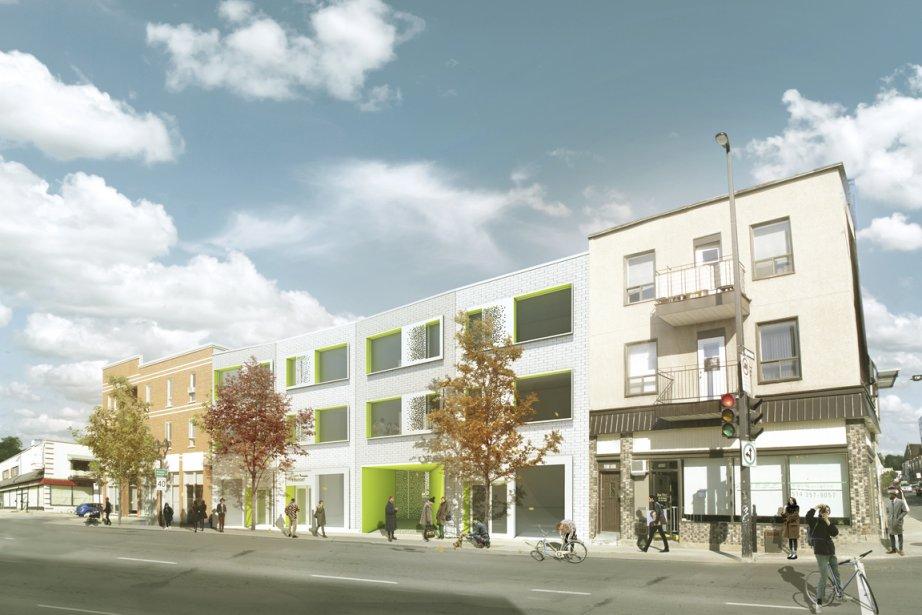 Trois commerces et une porte cochère occuperont le rez-de-chaussée du complexe, le long de l'avenue du Mont-Royal. Les condos seront construits au-dessus. Rappelant les feuilles d'un arbre, les cadres des portes et des fenêtres seront de couleur verte. (Illustration fournie par Kanva Architecture Management R&D)