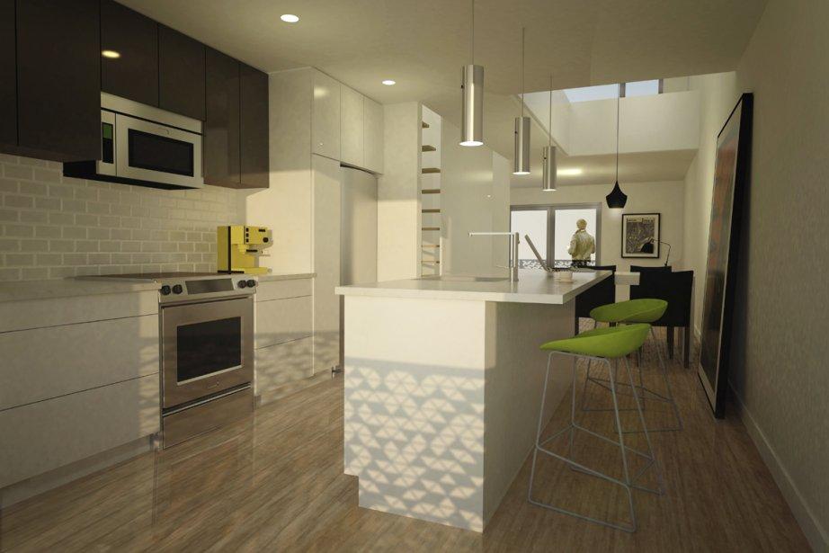 Dans les maisons en rangée, la cuisine et le salon seront au troisième étage afin d'être près de la terrasse sur le toit. La mezzanine se trouvant au-dessus, le plafond de la salle à manger atteindra 20 pi de hauteur. (Illustration fournie par Kanva Architecture Management R&D)