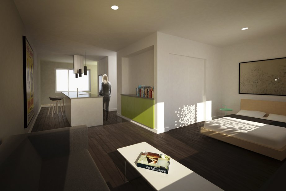 Les condos comporteront plusieurs espaces de rangement, dont un vaste îlot. Dans la chambre, la lumière pénétrera à travers une plaque métallique perforée de façon graduelle, dont les trous rappelleront la feuille d'un arbre (Illustration fournie par Kanva Architecture Management R&D)