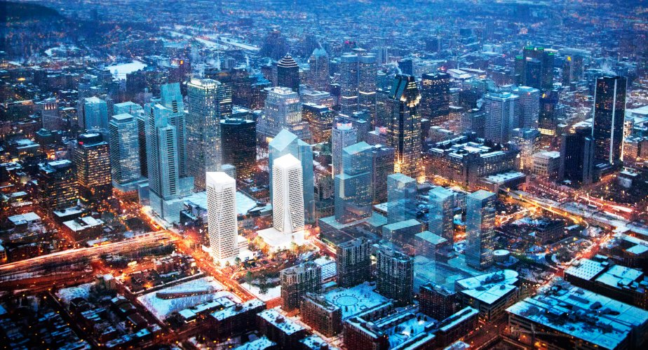 Le centre-ville de Montréal s'enrichira de plusieurs gratte-ciel au cours des prochaines années. Voici ce à quoi pourraient ressembler les environs du Centre-Bell. (Illustration Office de consultation publique de Montréal)
