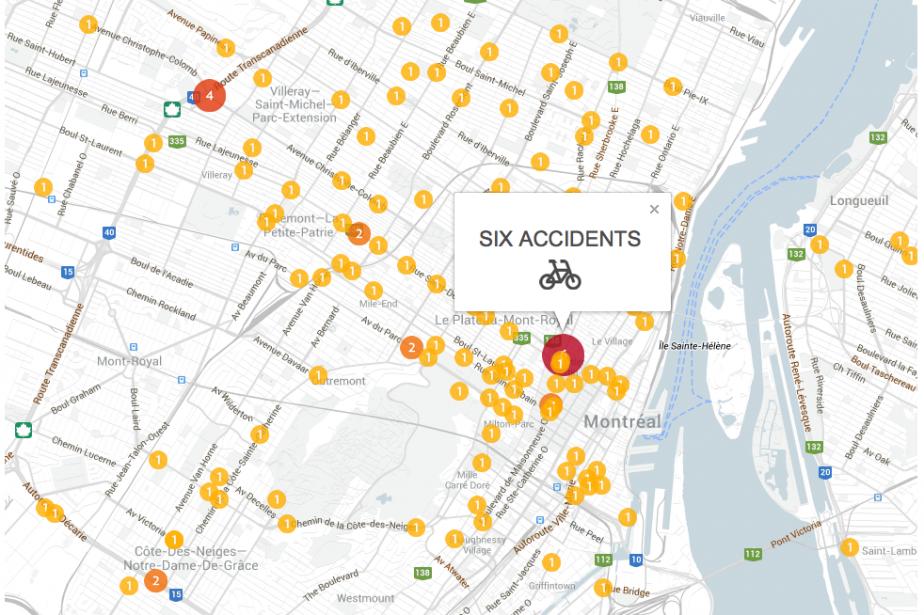 Carte des accidents impliquant des vélos dans la... (CAPTURE D'ÉCRAN DE NOTRE CARTE INTERACTIVE)