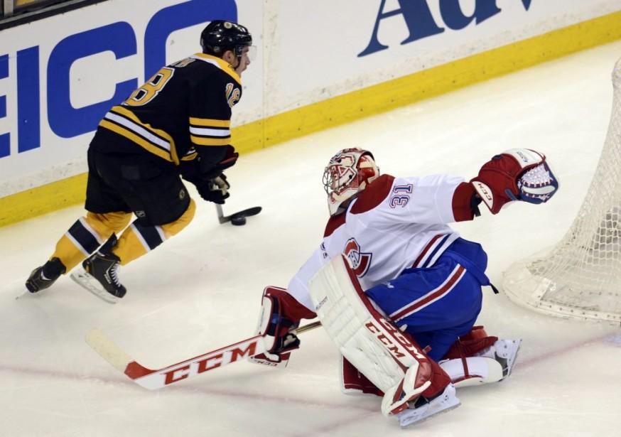Carey Price résiste aux assauts des Bruins. (Photo Bernard Brault, La Presse)