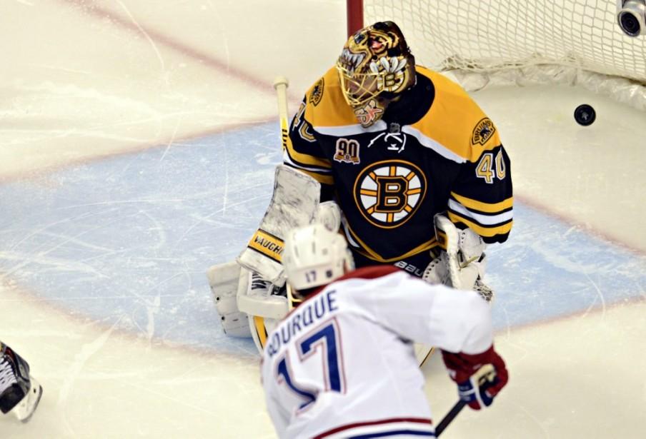 Rene Bourque a trompé le gardien des Bruins. (Photo Bernard Brault, La Presse)