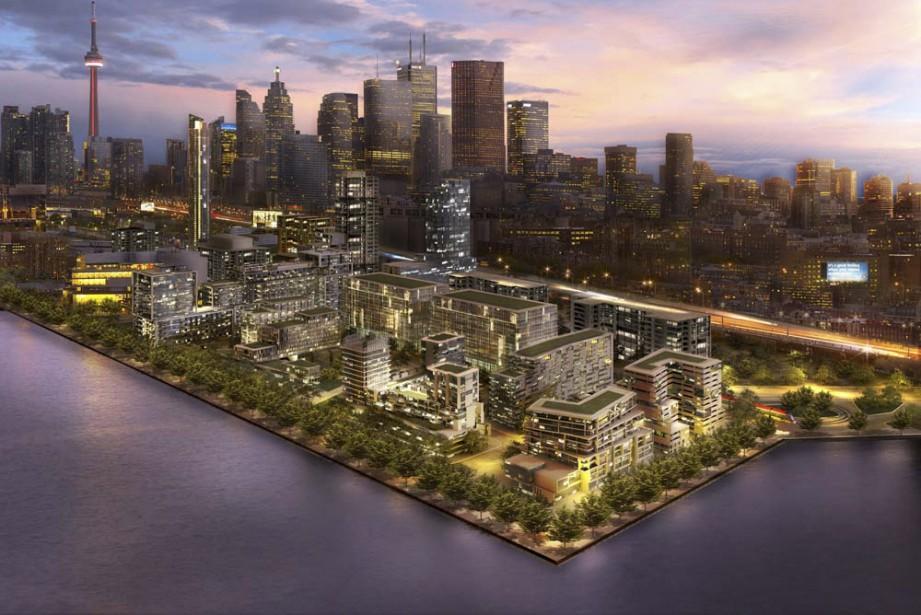 Voici à quoi pourrait ressembler le futur quartier Bayside Toronto, que prévoient réaliser le constructeur résidentiel Tridel et le promoteur immobilier Hines. (Illustration fournie par Tridel)