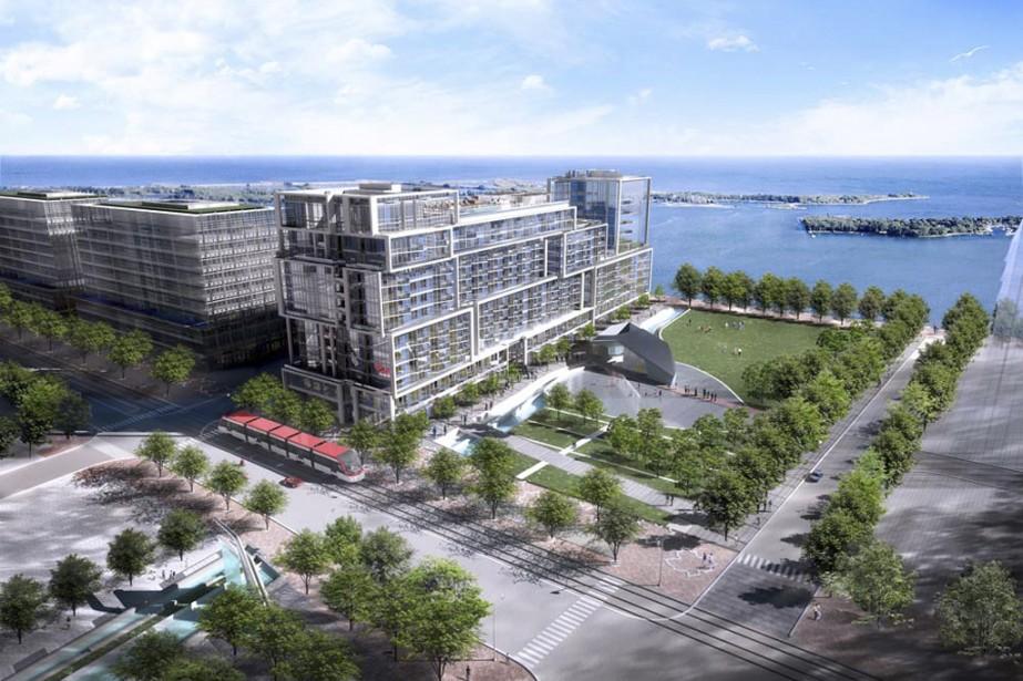 Aqualina at Bayside Toronto sera construit en visant la certification LEED Platine. Tridel veut aussi innover en réalisant un condo à la consommation énergétique nette zéro, au 12e étage. (Illustration fournie par Tridel)