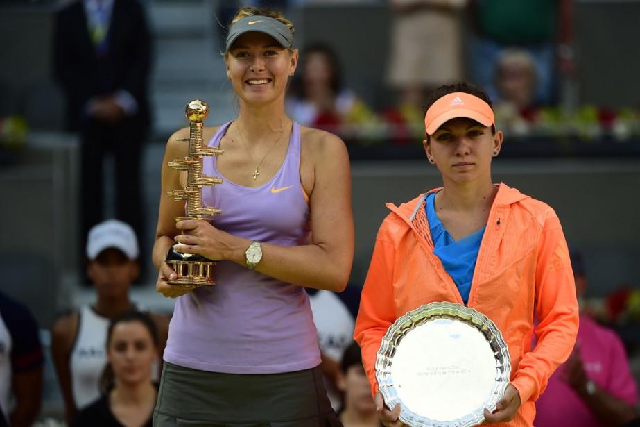 Défaite par Maria Sharapova (à gauche) à Madrid... (Photo Pierre-Philippe Marcou, AFP)