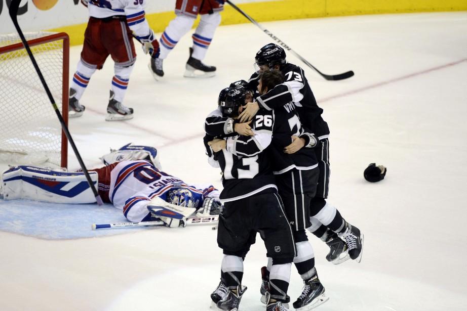 Les Kings laissent exploser leur joie une fois... (Photo USA Today Sports)