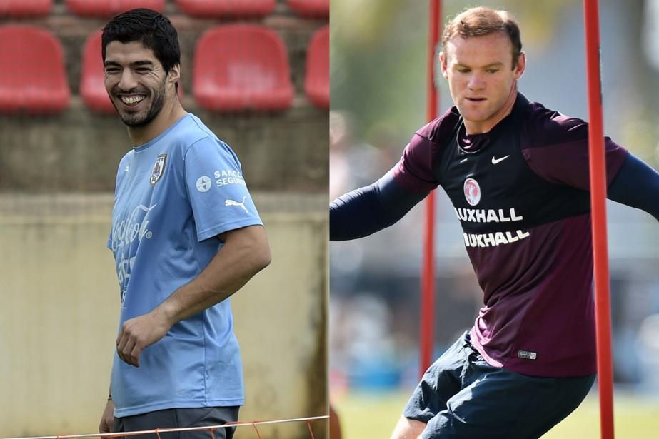 L'Uruguay de Luis Suárez et l'Angleterre de Wayne... (Photos AFP)