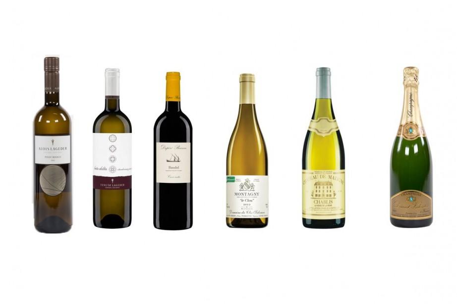 De gauche à droite:Alto Adige 2012 Pinot Bianco...